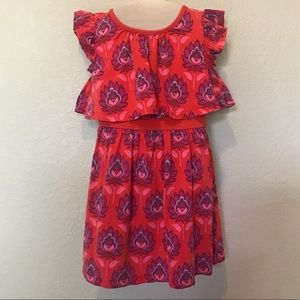 Tea red purple floral sun dress size 4